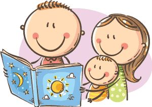 Illustration of a young family reading together